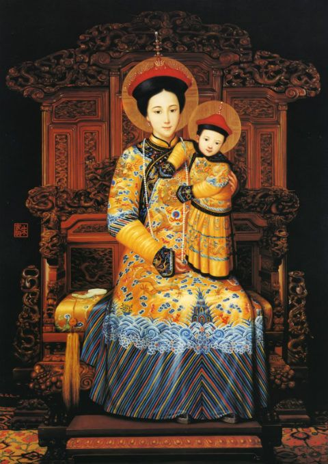 Our lady of china and the holy infant in qing dynasty for Dynasty mural works