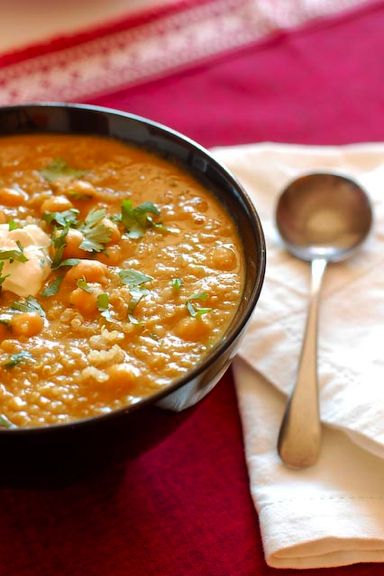 Lentil soup with chickpeas and quinoa.    NOTE: They call for 2-3 C of stock.  3 C produces a much thicker, pastier soup than that shown in their images.