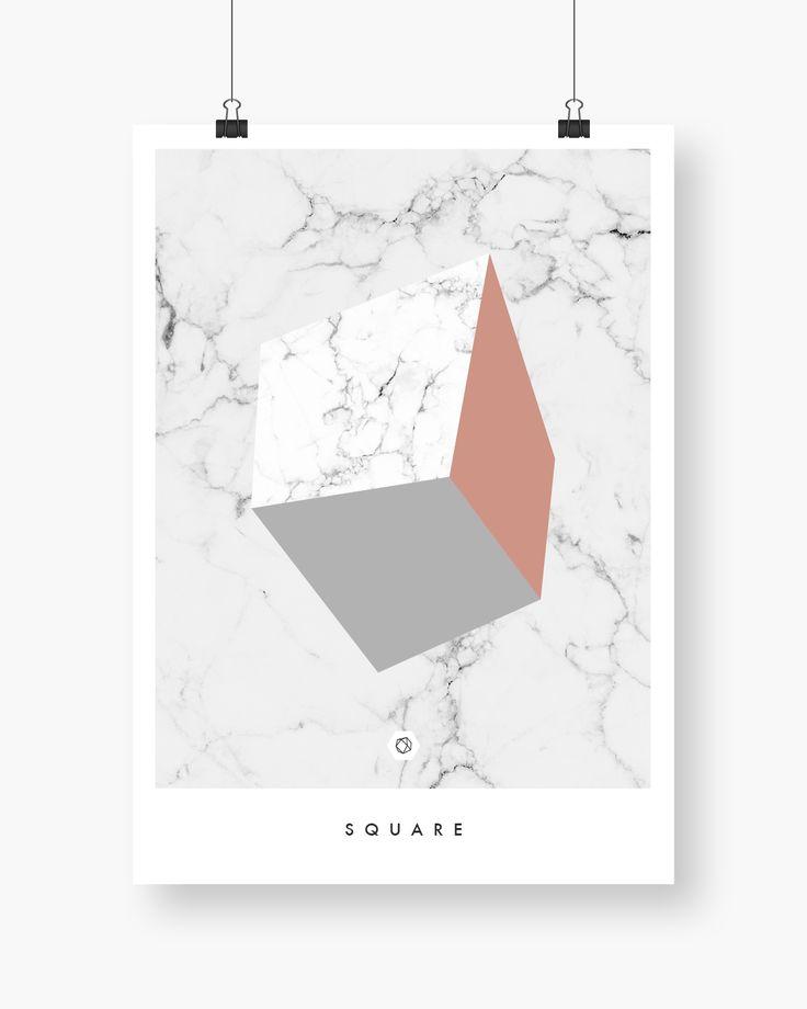 Geometric Square. Marmortekstur med fargede firkanter. Finnes i flere størrelser. #marmor #marble #marbletexture #marbleposter #warmblush #geometricposter #enkontrast