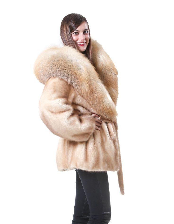 mink fur coat wild woman with large fox collar matching