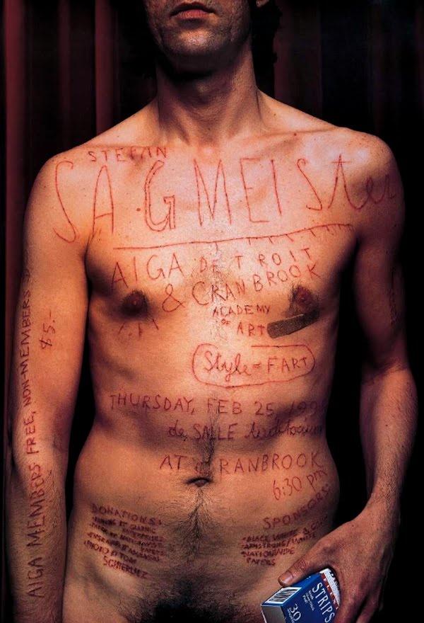 Un clásico de Stefan Sagmeister; efectivamente, se lo hizo con una cuchilla, no es Photoshop