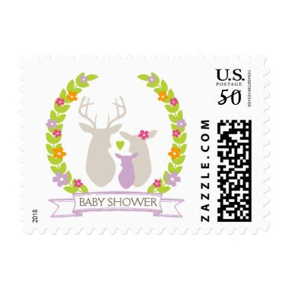 Whimsical Woodland Deer Family Baby Shower Postage - baby gifts child new born gift idea diy cyo special unique design