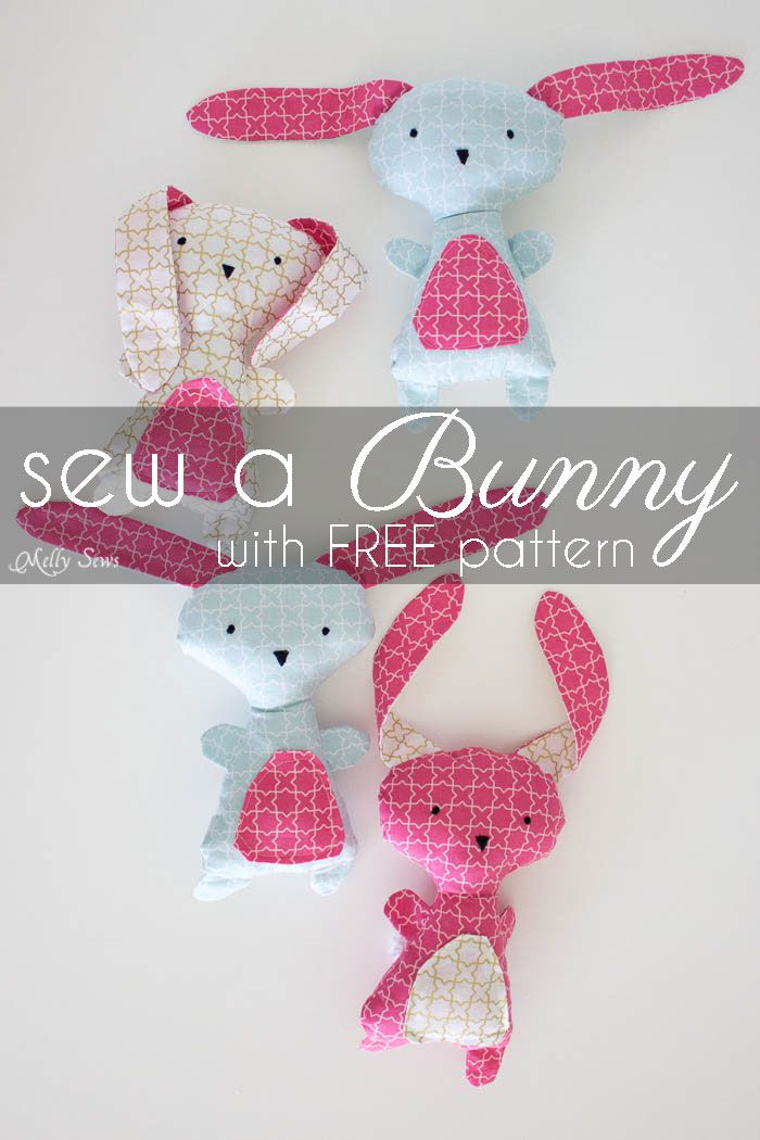 Sew a Bunny - DIY Easter Bunny Tutorial - Free Pattern to sew this cute bunny - would make a great baby gift! - Melly Sews