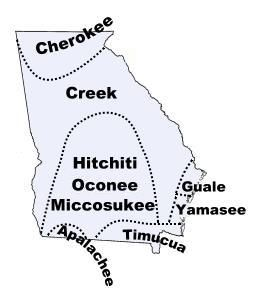 Map of Georgia tribes in the past
