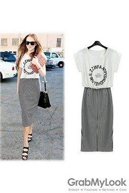 GrabMyLook Sleevesless Top Casual A-line Vertial Stripes Pencil Skirt Dress