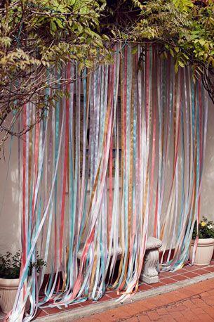 Fotó háttér - photo booth background - wedding multicolored ribbon curtain