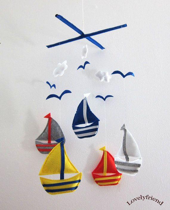 Mobile -Baby Crib Mobile - Baby Mobile - Crib mobiles - Felt Mobile - Nursery mobile - Colorful Sailboats Design via Etsy