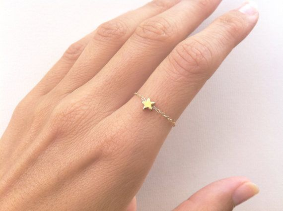 Star Ring Stackable Dainty Ring with a Tiny Star by MinimalVS, $17.00