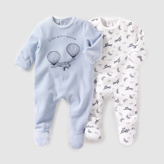 Pijama De Terciopelo Lote De 2 0 Meses 3 Anos La Redoute