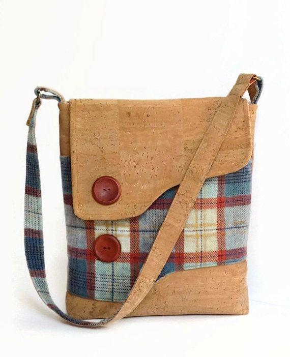 Cork and Irish Wool Messenger Bag by MyCottonHouse on Etsy