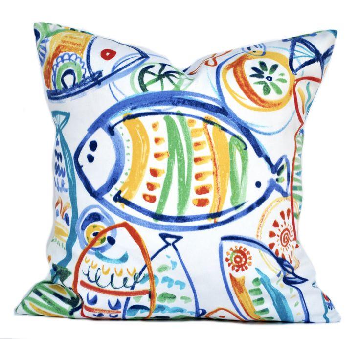 1 Aquatic Outdoor pillow cover, cushion, decorative throw pillow, Nautical pillow, accent pillow, outdoor pillow, pillow case by ThatDutchGirlHome on Etsy