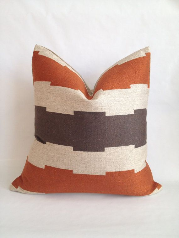 southwest brown tan and rust upholstery fabric and natural burlap back pillow cover