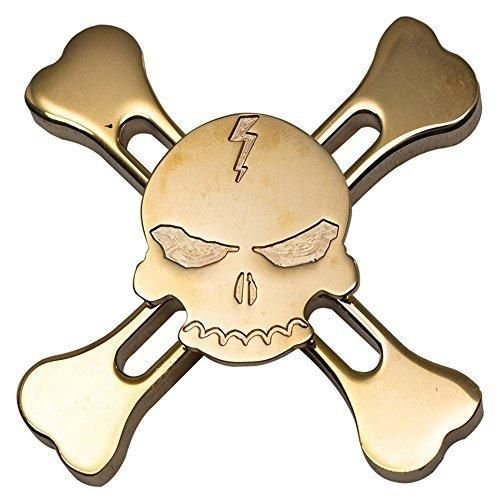 Fidget Hand Spinner Sunvy New Design Skull 4 Winged Brass Hand Fidget Spinner Rainbow Toy EDC Luxury Helps You Focus And Reduce Stress