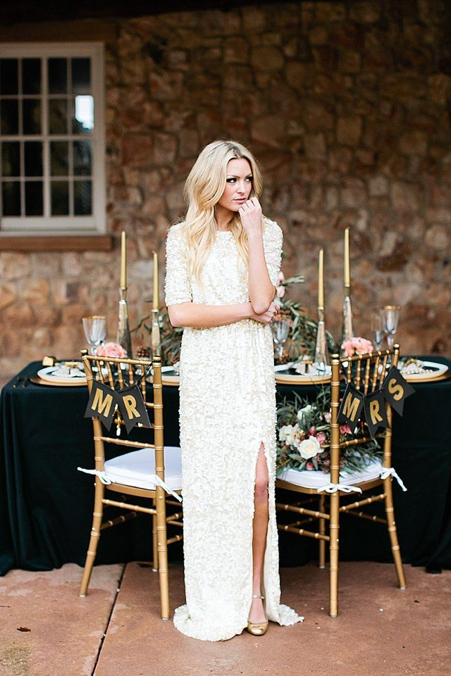 glamorous and fun wedding inspiration | Sequin wedding dresses ...