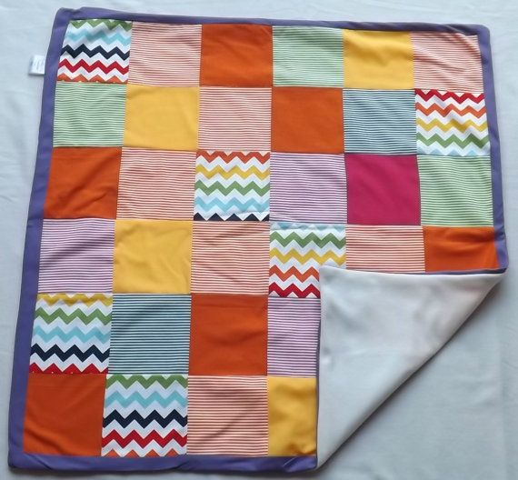 Zig Zag Stripe Patchwork Blanket by LittleTsTextiles on Etsy