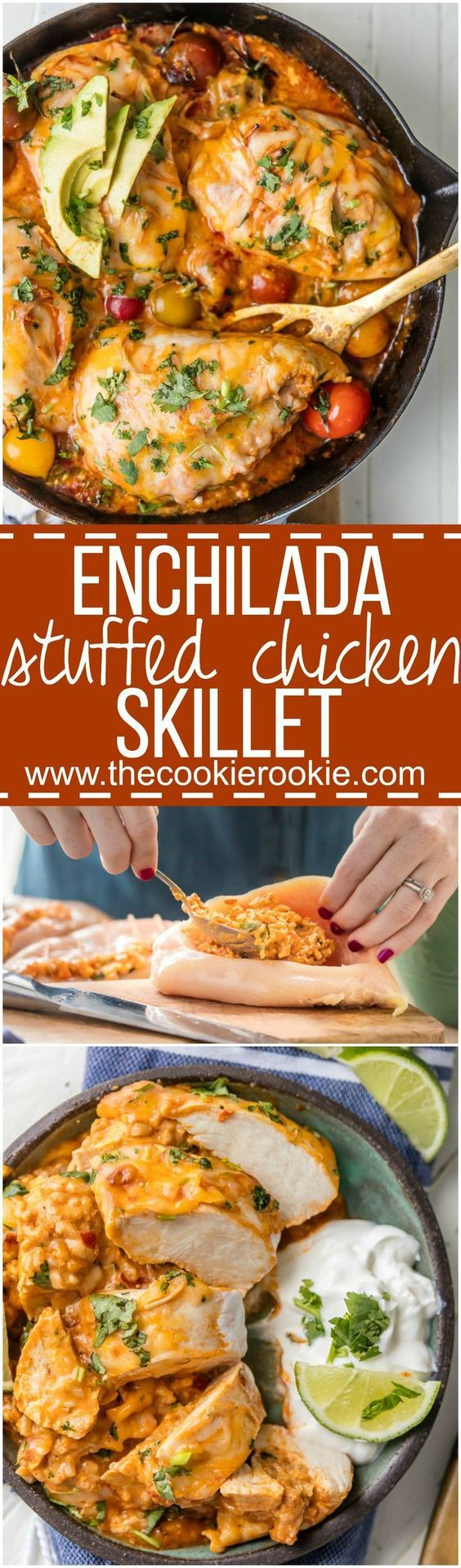 This ONE PAN ENCHILADA STUFFED CHICKEN SKILLET (Or Inside Out Chicken Enchiladas) are a family favorite! Chicken stuffed with rice, enchilada sauce, cream cheese, tomatoes, and more cheese! You've never had a meal this good!