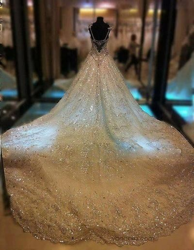 Sally nona: Luxury Princess Gowns Thousands of Shiny Swarovski Crystals A Line Royal Train