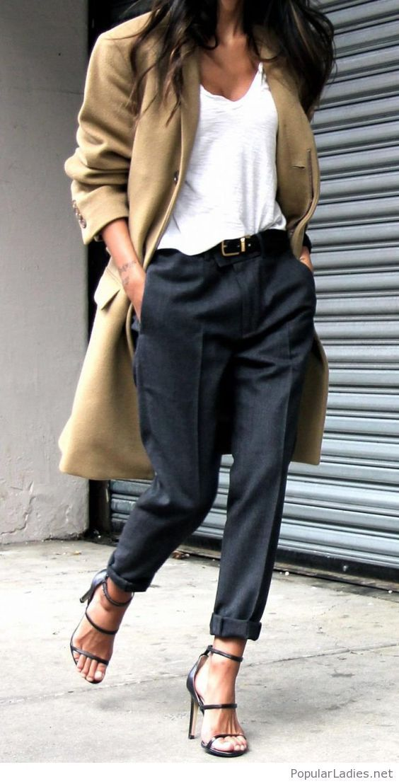 Black pants and sandals, white tee and a nude coat
