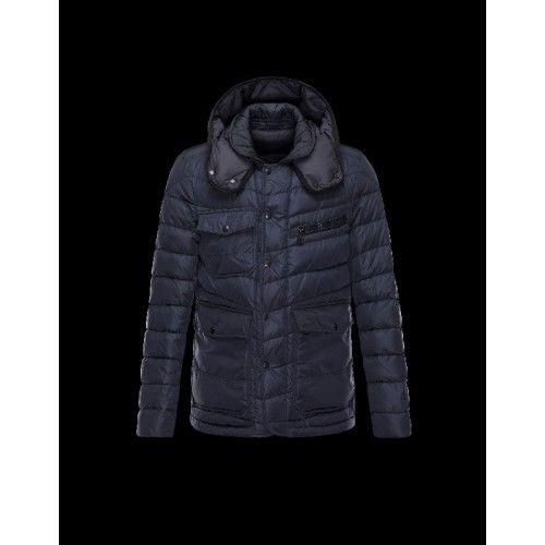 Moncler Doudoune Homme - Moncler RIVER Detachable Hood Turtleneck Dark Bleu Blouson Nylon/Polyamide Homme 41456750WW