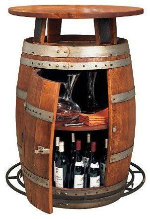 Vintage Oak Wine Barrel Bistro Table Contemporary Bar Tables