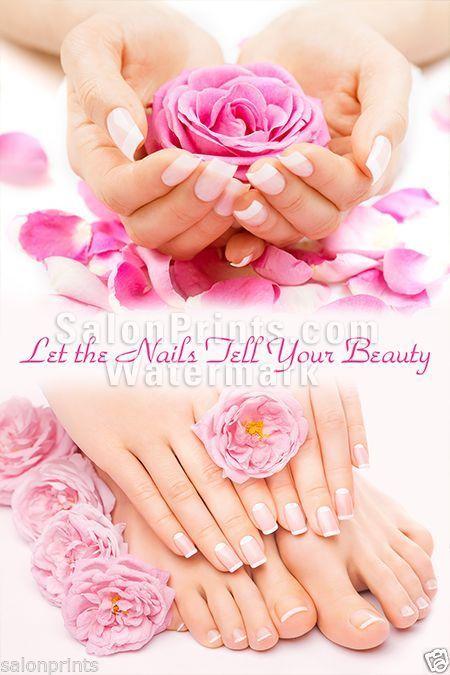 Cartel De Salón De Uñas-Rosa y Blanco Manicura y Pedicura cartel    P-017