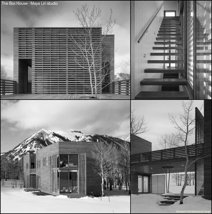 The Box House - Maya Lin studio. Situated in the mountains in southwestern Colorado, this 4000 square foot residence evolved out of a desire to create the simplest of forms - a wooden box - set at the edge of an aspen forest. The structure is composed of two separate wood clad volumes connected by two levels of outdoor decks. The larger main house emerges from the aspen grove while the second box is embedded within the forest.