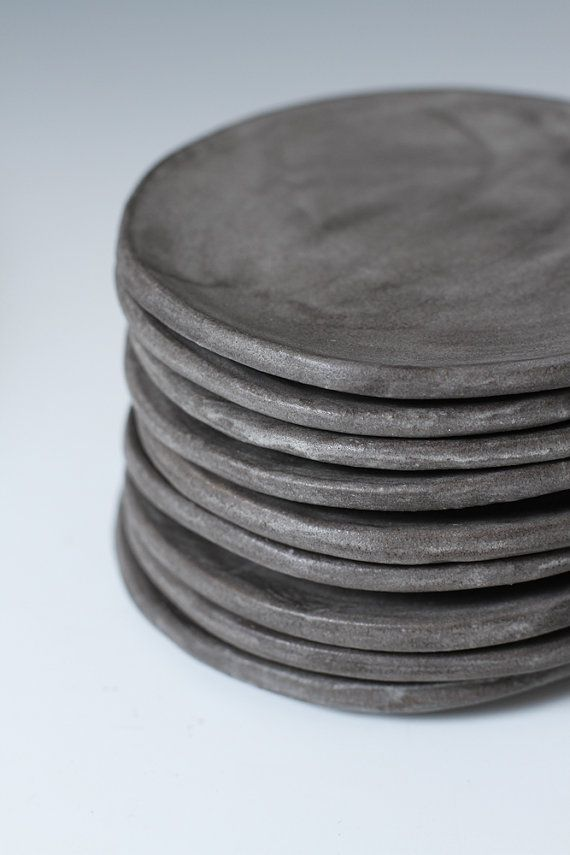 Charcoal Stoneware Side plates - Small Plates, 5 inches wide - stone ware…