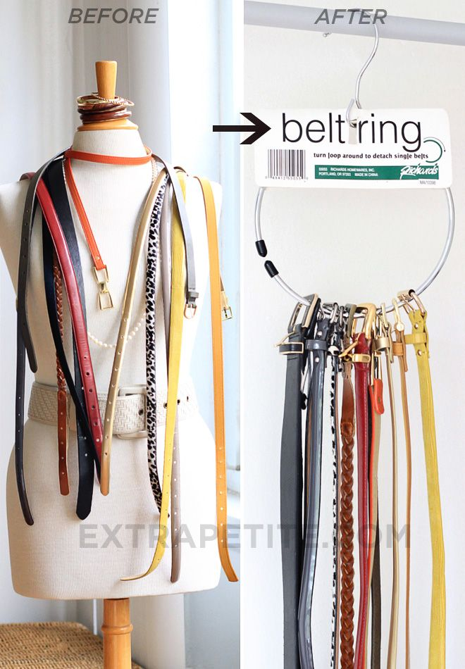 Belt ring hanger. Ingenius! I've never seen this before, but I have a similar ring from my latest hair-tie purchase and will repurpose it for this!