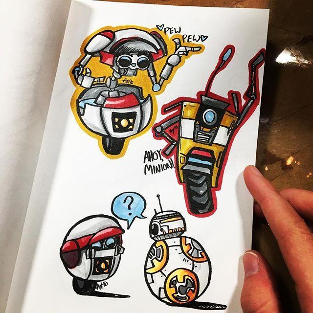 Awesome Robot Plas created by @youseethehat with their Chameleon Pens.  #bb8 #claptrap #gortys #borderlands #starwars #starwarsepisodevii #rougeone #borderlandsthepresequel #borderlands2 #talesfromtheborderlands #loaderbot #inktober #makersgonnamake #art #chameleonpens #doodle #sketch #brushpen #allinesbitart