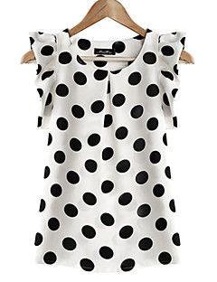 женские белые горошек шею рябить блузку, шифон с коротким рукавом
