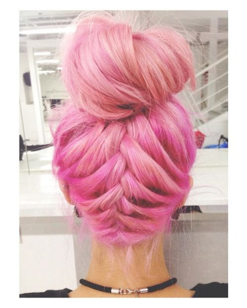 Pink hair up do.