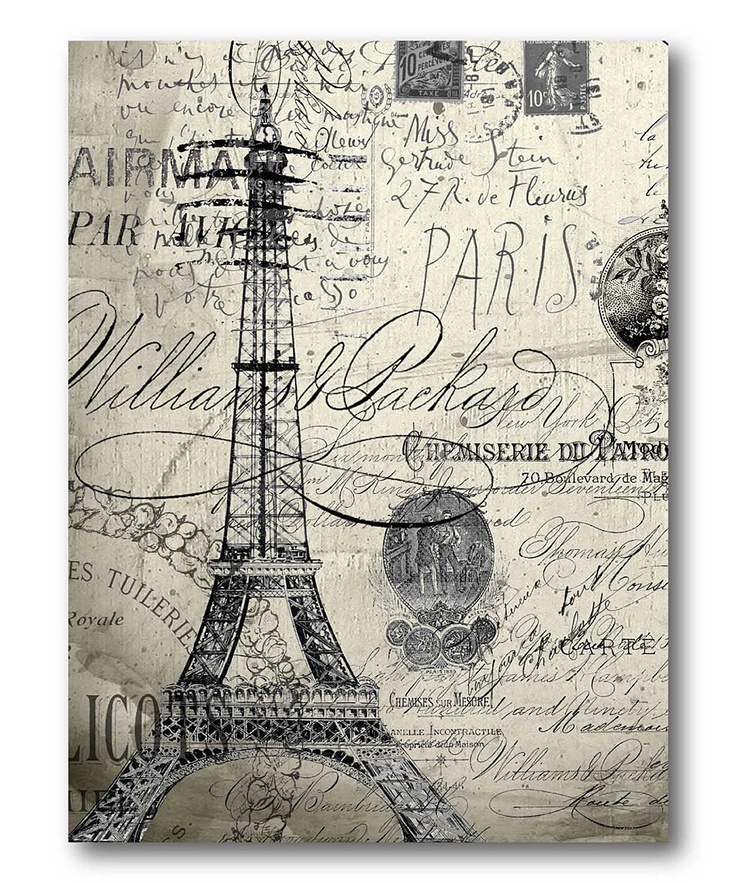 Black white eiffel tower wall art french script for Black and white paris wall mural