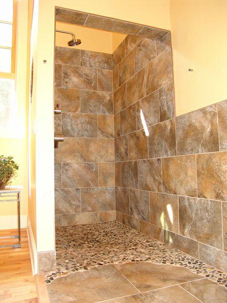 curtainless shower shower doorless pebble shower handicap bathroom