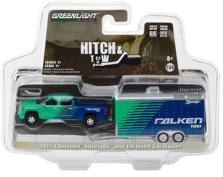 1:64 GreenLight *HITCH & TOW 11* FALKEN TIRE 2015 Silverado w/Enclosed Trailer #Greenlight #Chevrolet