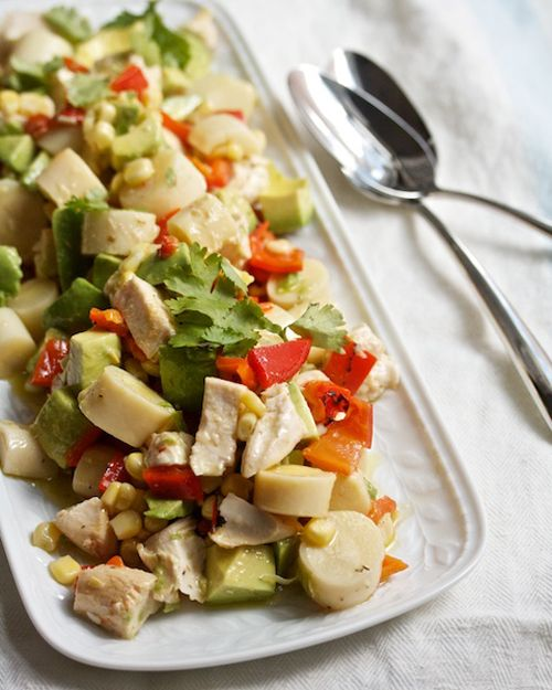 one of my favorite summer salads - chicken, hearts of palm, and avocado chop chop salad