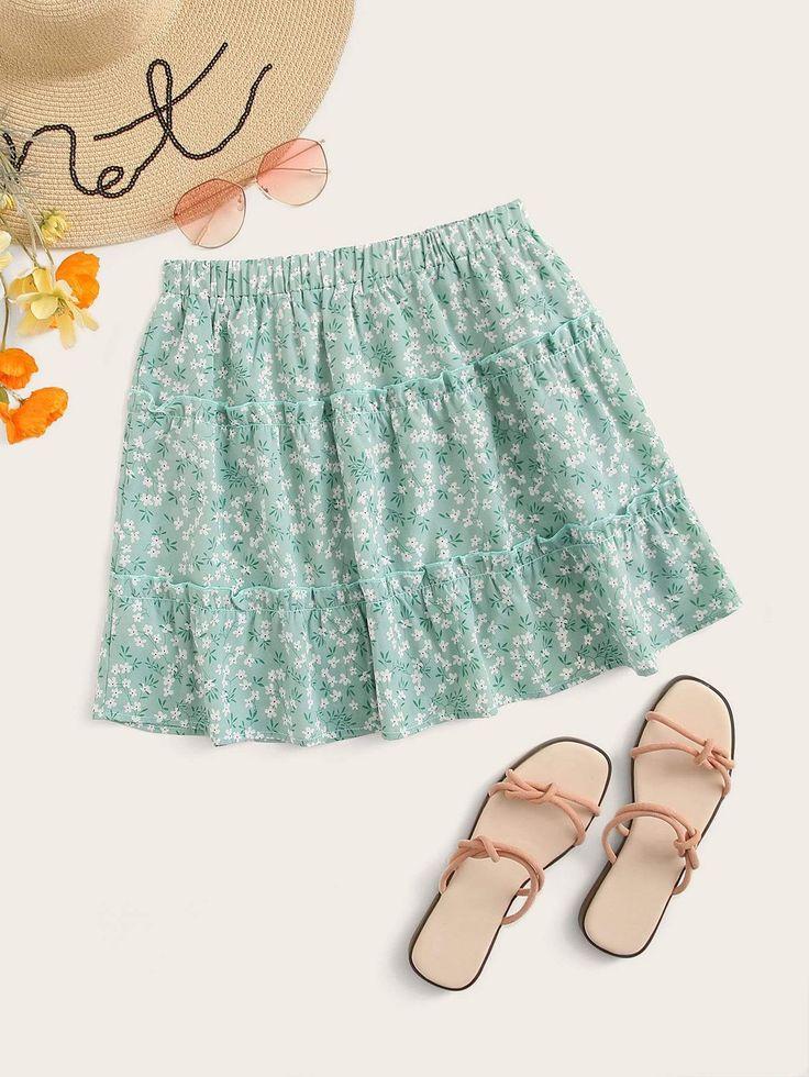 Plus Ditsy Floral Print Lettuce Frill Skirt 13