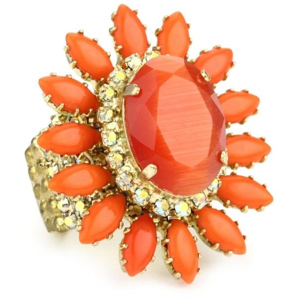 "Rodrigo Otazu ""DNA"" Fire Orange Floral Adjustable RingRodrigo Otazu, Otazu Dna, Orange Floral, Orange Rings, Floral Adjustable, Fire Orange, Rings Bling, Adjustable Rings, Wedding Rings"