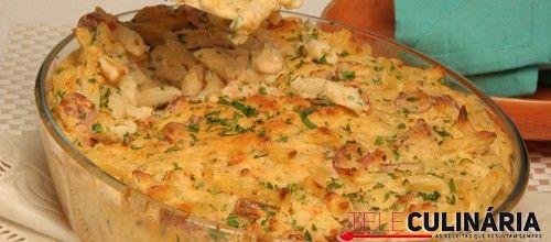 Receita para toda a família :) Soufflé de massa com salsichas