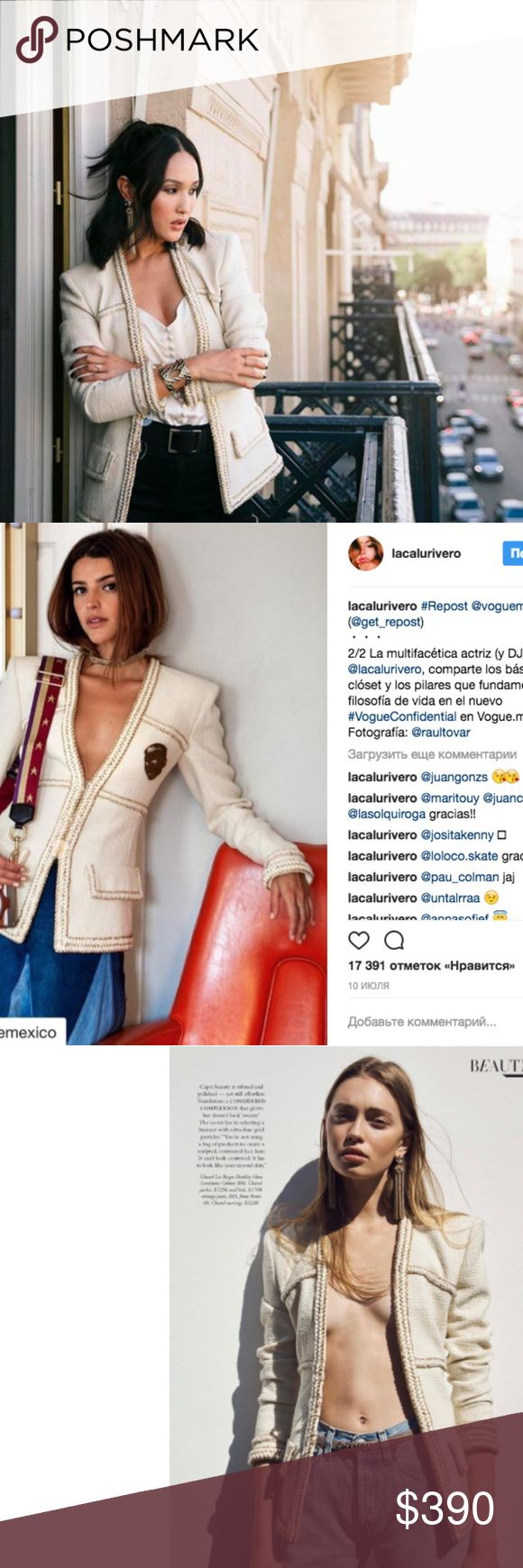 Chanel Jacket As seen on HARPER'S BAZAAR June 2017, Vogue Mexico and fashion blogger Nikole Warne. Latest Paris Cosmopolite collection. Boutique cost $7250. Inspired version, don't miss a chance to get haute couture look for less. Price is not firm, best offer will be accepted Exprected to arrive today, listing will be updated CHANEL Jackets & Coats Blazers