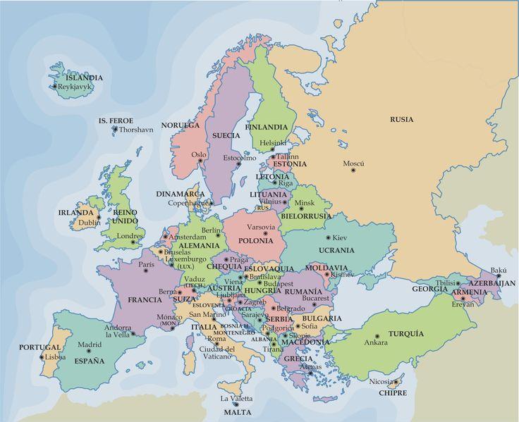 Ciencias Sociales : Mapa político de Europa. Países y capitales.
