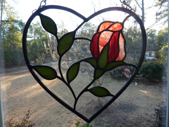Stained Glass Heart with Rose Suncatcher by WildwindsGlass on Etsy, $29.00