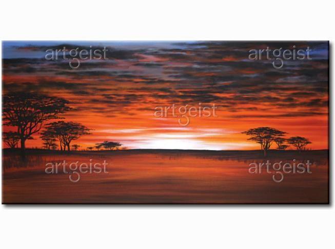 Wspaniały obraz ręcznie malowany z pejzażem afrykańskiej sawanny #obrazy #recznie #malowane #tryptyki #dekoracje #ścienne #sztuka #malarstwo #wnętrza #pejzaż #afryka #sawanna