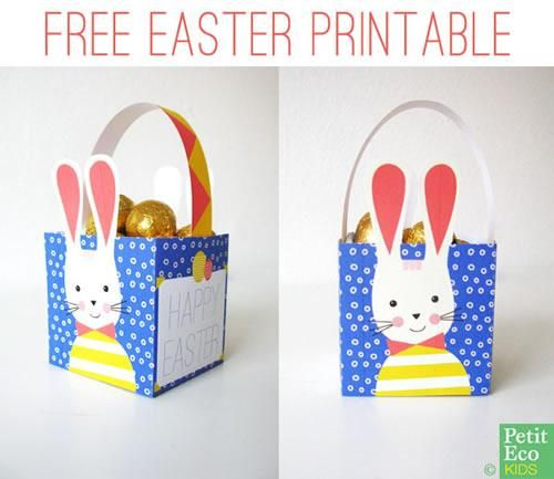 Imprimible, cajita del conejo de Pascua para montar | Fiestas infantiles y cumpleaños de niños