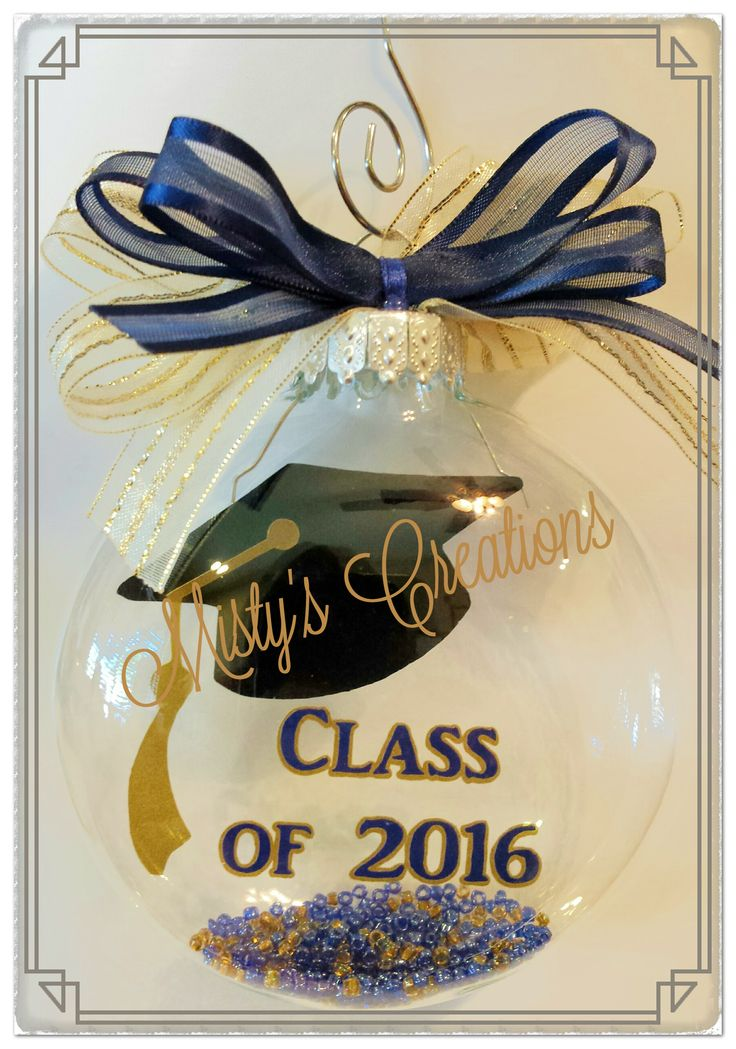 "Graduation keepsake 3"" glass ornament done with blue and gold."
