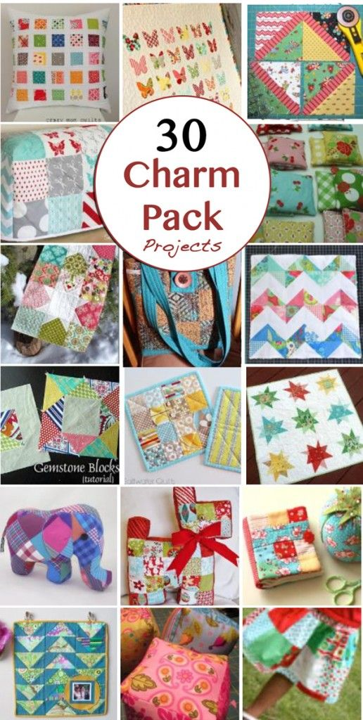 In the quilting world charm packs are versatile and economical. They are adorable precut 5 inch squares and have twenty to thirty squares per pack. Here are 30 charm pack ideas: