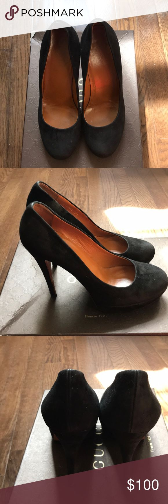 Black suede Gucci Pumps. Used but in great condition. Optional price $530 Gucci Shoes Platforms