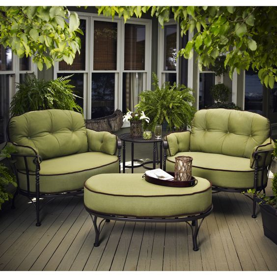 Winter Garden I Green Sofa I Nature I http://www.uk-rattanfurniture.com/product/outsunny-garden-rattan-furniture-4-pcs-sofa-table-patio-set-outdoor-wicker-weave-chairs-black/