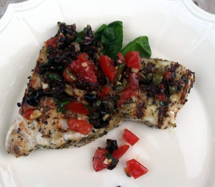 2012 recipe -grilled swordfish with tomato, basil, olives, lemon ...