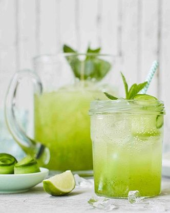 This refreshing cooler makes the perfect non-alcoholic drink to please guests with on a hot summer day. Finished off with elegant strips of cucumber and fresh mint, it's the classiest mocktail around! | Tesco