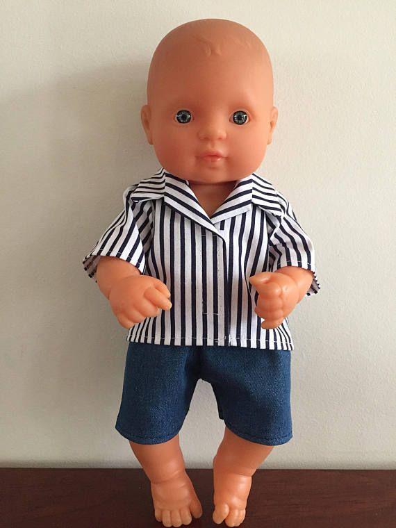 Navy Striped Shirt and Blue Denim Shorts